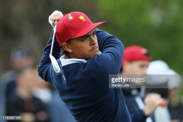 Rickie Fowler of the United States team practices on the range ahead of the 2019 Presidents Cup at the Royal Melbourne Golf Course on December 10,...
