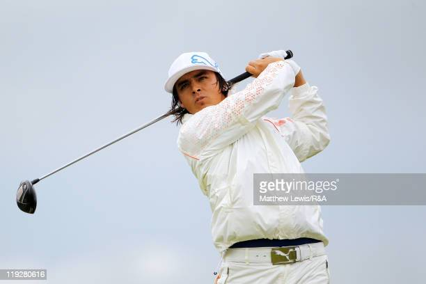 Rickie Fowler of the United States tees off at the 18th hole during the third round of The 140th Open Championship at Royal St George's on July 16,...