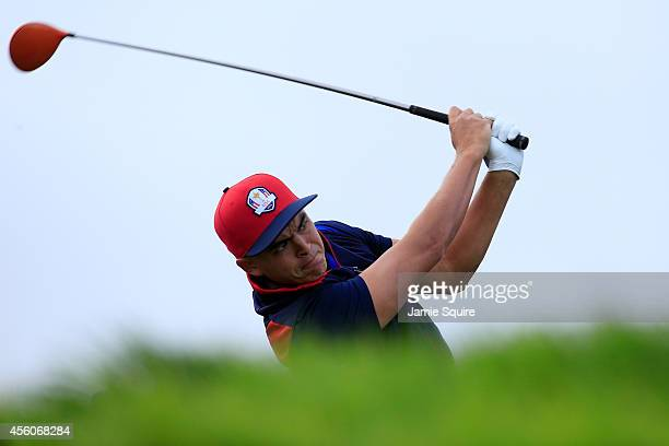 Rickie Fowler of the United States tees off during practice ahead of the 2014 Ryder Cup on the PGA Centenary course at the Gleneagles Hotel on...