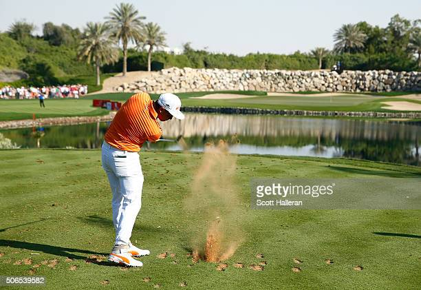 Rickie Fowler of the United States tees off on the 12th tee during round four of the Abu Dhabi HSBC Golf Championship at the Abu Dhabi Golf Club on...