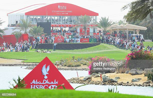 Rickie Fowler of the United States tees off on the 18th hole during the third round of the Abu Dhabi HSBC Championship at the Abu Dhabi Golf Club on...