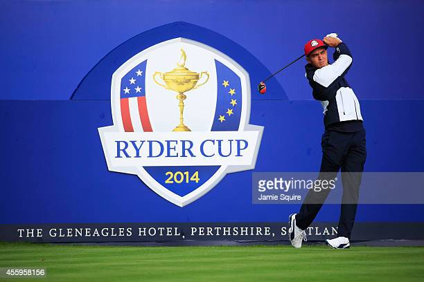 Rickie Fowler of the United States tees off on the 1st hole during practice ahead of the 2014 Ryder Cup on the PGA Centenary course at the Gleneagles...