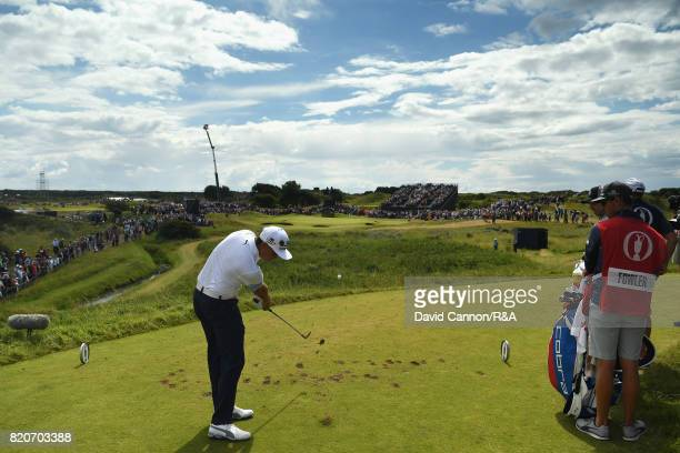 Rickie Fowler of the United States tees off on the 7th hole during the third round of the 146th Open Championship at Royal Birkdale on July 22 2017...