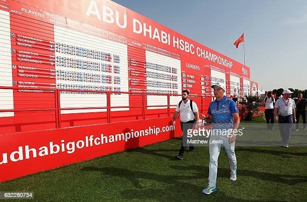 Rickie Fowler of the United States visits the Championship village during day three of the Abu Dhabi HSBC Championship at Abu Dhabi Golf Club on...