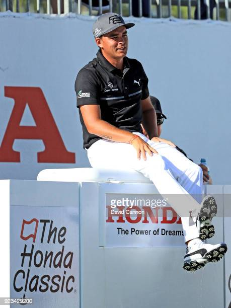 Rickie Fowler of the United States waits to play his tee shot on the par 3 17th hole during the second round of the 2018 Honda Classic on The...