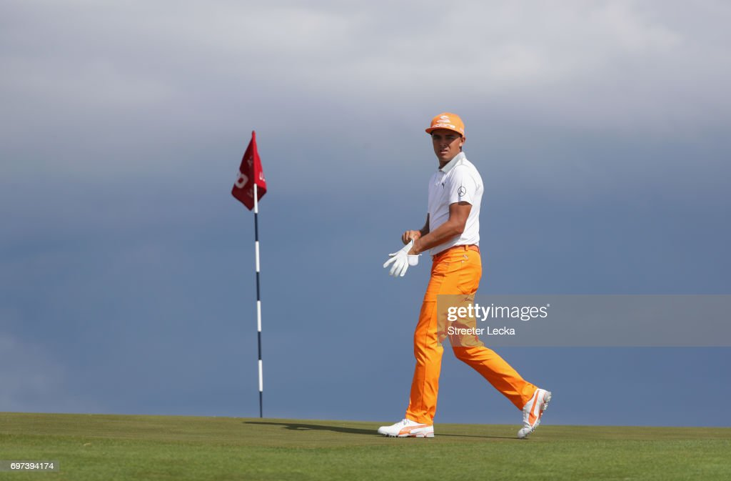 Rickie Fowler of the United States walks across the eighth hole during the final round of the 2017 U.S. Open at Erin Hills on June 18, 2017 in Hartford, Wisconsin.