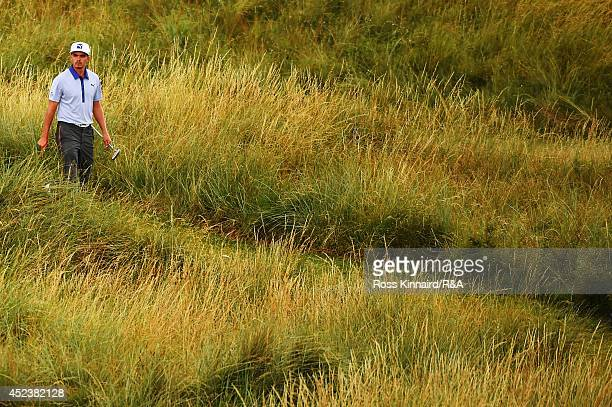 Rickie Fowler of the United States walks to the 15th green during the third round of The 143rd Open Championship at Royal Liverpool on July 19, 2014...