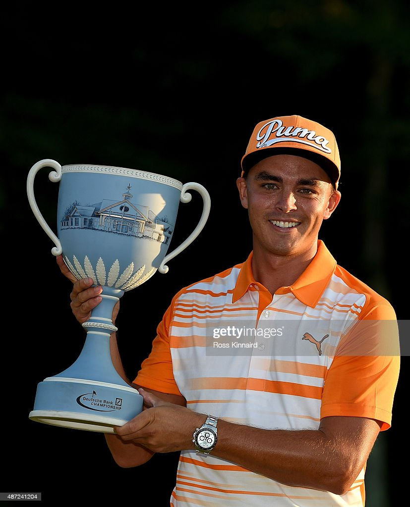 Rickie Fowler of the United States with the winners trophy after winning Deutsche Bank Championship at TPC Boston on September 7, 2015 in Norton, Massachusetts.