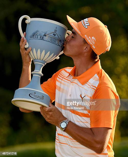Rickie Fowler of the United States with the winners trophy after winning Deutsche Bank Championship at TPC Boston on September 7, 2015 in Norton,...