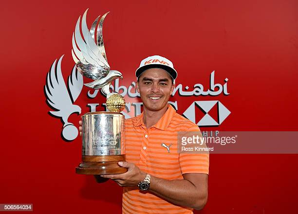Rickie Fowler of the United States with the winners trophy after the final round of the Abu Dhabi HSBC Golf Championship at the Abu Dhabi Golf Club...