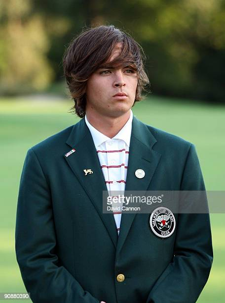Rickie Fowler of the USA at the closing ceremony after the final afternoon singles matches on the East Course at Merion Golf Club on September 13,...