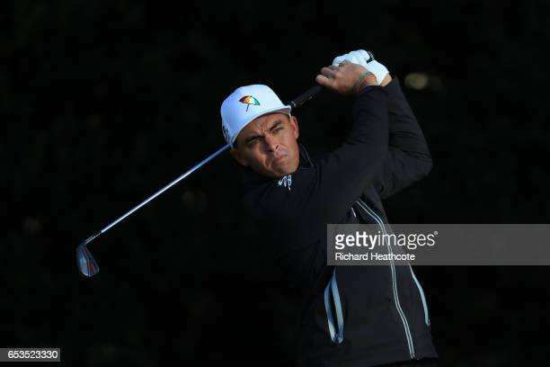Rickie Fowler of the USA hits a shot during the pro-am for the Arnold Palmer Invitational Presented By MasterCard at Bay Hill on March 15, 2017 in...
