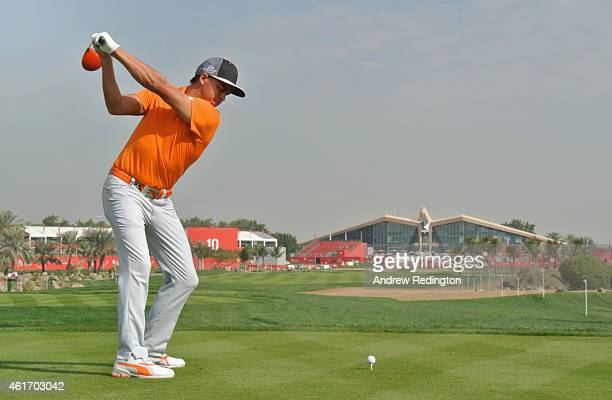 Rickie Fowler of the USA hits his teeshot on the ninth hole during the final round of the Abu Dhabi HSBC Golf Championship at the Abu Dhabi Golf Cub...