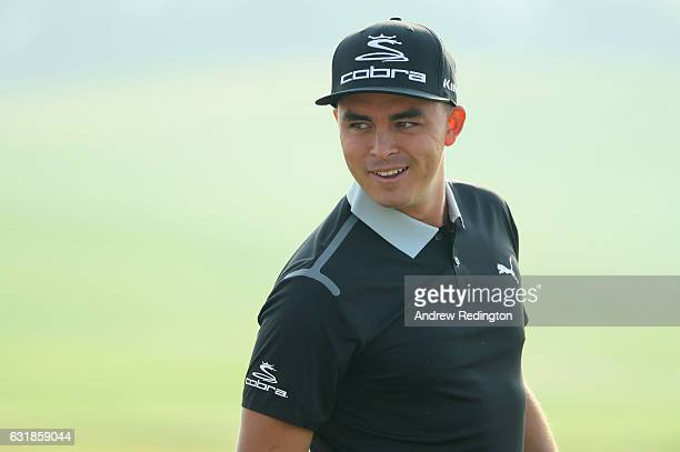 Rickie Fowler of the USA is pictured during practice for the Abu Dhabi HSBC Championship at Abu Dhabi Golf Club on January 17 2017 in Abu Dhabi...