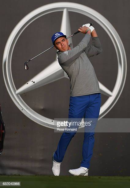 Rickie Fowler of the USA on the 12th tee during the first round of the Abu Dhabi HSBC Championship at Abu Dhabi Golf Club on January 19 2017 in Abu...