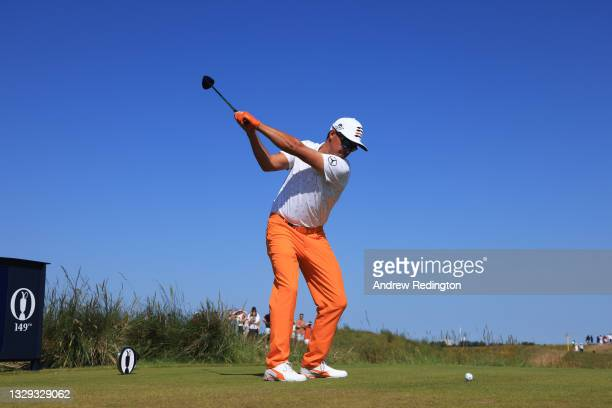 Rickie Fowler of the USA plays his tee shot on the ninth during Day Four of The 149th Open at Royal St George's Golf Club on July 18, 2021 in...