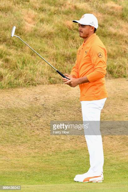 Rickie Fowler of USA celebrates his par putt on hole one during day four of the Aberdeen Standard Investments Scottish Open at Gullane Golf Course on...
