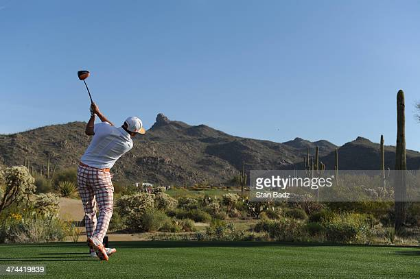 Rickie Fowler of USA hits a tee shot from the eighth tee box during the semifinal round of the World Golf Championships Accenture Match Play...