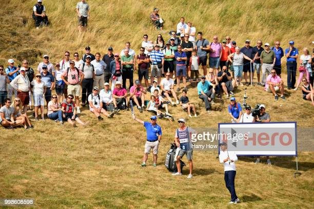 Rickie Fowler of USA plays out of the rough on hole one during day three of the Aberdeen Standard Investments Scottish Open at Gullane Golf Course on...