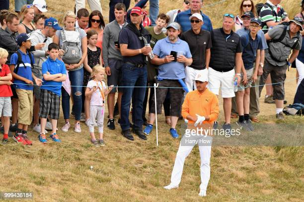 Rickie Fowler of USA plays out of the rough on hole one during day four of the Aberdeen Standard Investments Scottish Open at Gullane Golf Course on...