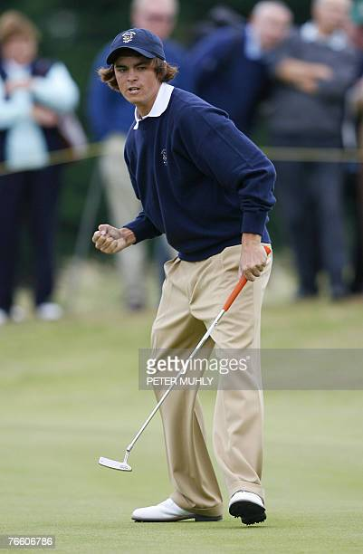 Rickie Fowler of USA reacts after sinking a putt 09 September 2007 on the 9th hole during the final day of the 2007 Walker Cup Match against Great...