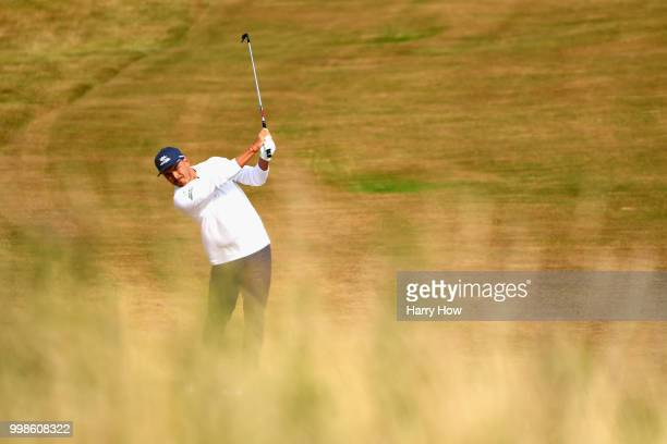Rickie Fowler of USA takes a shot on hole one during day three of the Aberdeen Standard Investments Scottish Open at Gullane Golf Course on July 14...