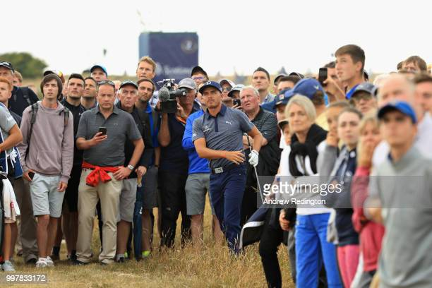 Rickie Fowler of USA takes his second shot on hole sixteen during day two of the Aberdeen Standard Investments Scottish Open at Gullane Golf Course...