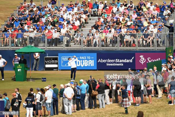 Rickie Fowler of USA takes his tee shot on hole one during day three of the Aberdeen Standard Investments Scottish Open at Gullane Golf Course on...