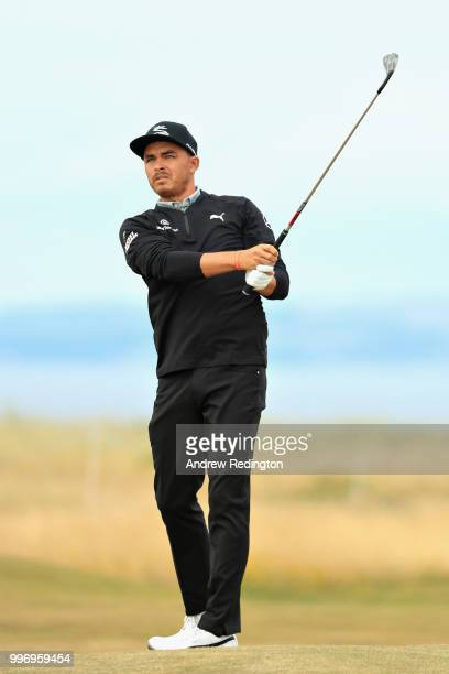 Rickie Fowler of USA takes his third shot on hole sixteen during day one of the Aberdeen Standard Investments Scottish Open at Gullane Golf Course on...