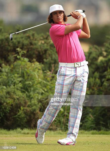 Rickie Fowler of USA tees off on the 10th hole during the first round of the 139th Open Championship on the Old Course St Andrews on July 15 2010 in...