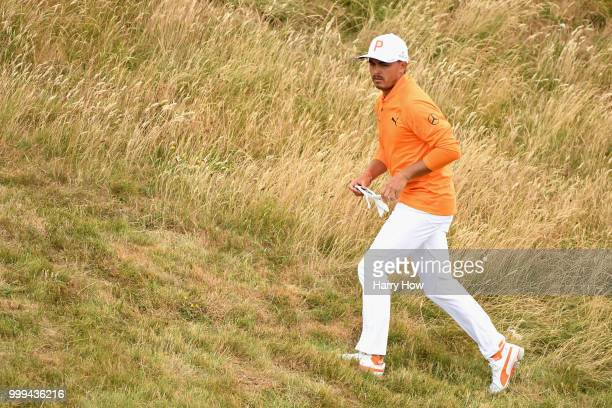 Rickie Fowler of USA walks into the rough on hole one during day four of the Aberdeen Standard Investments Scottish Open at Gullane Golf Course on...