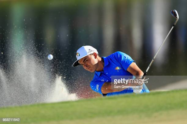Rickie Fowler plays a shot from a bunker on the 17th hole during the third round at the Arnold Palmer Invitational Presented By MasterCard at Bay...