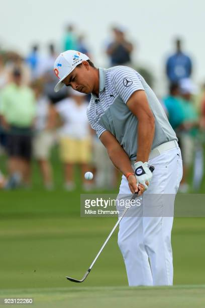 Rickie Fowler plays a shot on the sixth green during the first round of the Honda Classic at PGA National Resort and Spa on February 22 2018 in Palm...