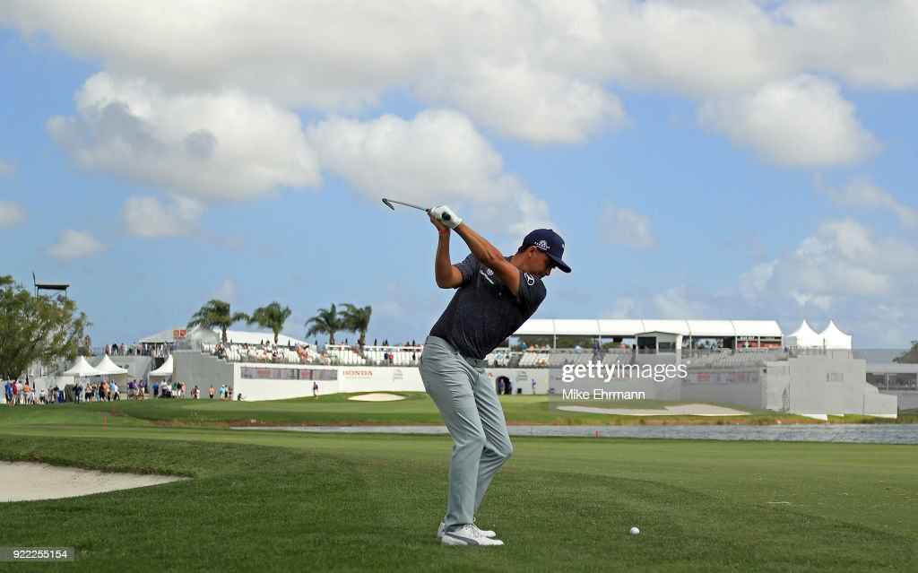 Rickie Fowler plays during a pro-am for the Honda Classic on February 21, 2018 in Palm Beach Gardens, Florida.
