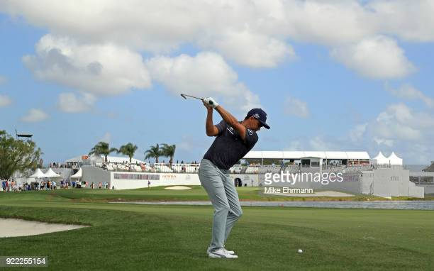 Rickie Fowler plays during a proam for the Honda Classic on February 21 2018 in Palm Beach Gardens Florida