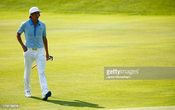 Rickie Fowler plays during the second round of the 2013 Travelers Championship at TPC River Highlands on June 21 2012 in Cromwell Connecticut