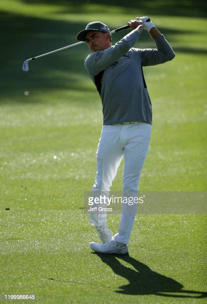 Rickie Fowler plays his second shot on the fifth hole during the first round of The American Express tournament at La Quinta Country Club on January...