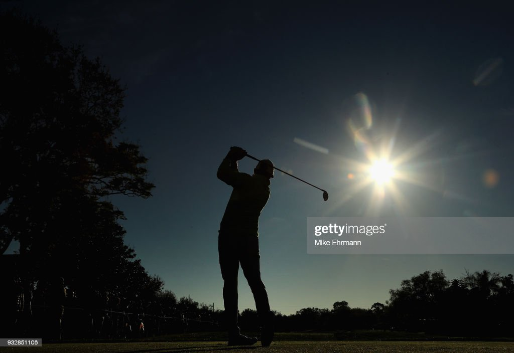 Rickie Fowler plays his shot from the 11th tee during the second round at the Arnold Palmer Invitational Presented By MasterCard at Bay Hill Club and Lodge on March 16, 2018 in Orlando, Florida.
