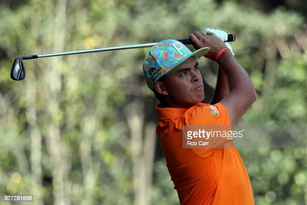 Rickie Fowler plays his shot from the 14th tee during the final round of World Golf ChampionshipsMexico Championship at Club De Golf Chapultepec on...