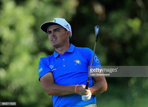 Rickie Fowler plays his shot from the 17th tee during the third round at the Arnold Palmer Invitational Presented By MasterCard at Bay Hill Club and...