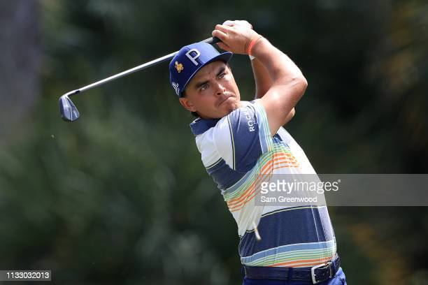 Rickie Fowler plays his shot from the seventh tee during the second round of the Honda Classic at PGA National Resort and Spa on March 01 2019 in...