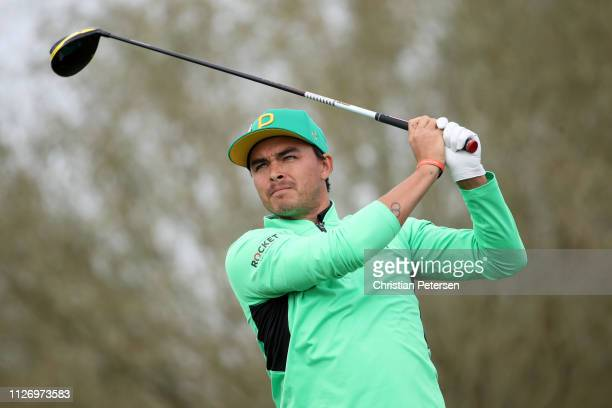 Rickie Fowler plays his shot from the sixth tee during the third round of the Waste Management Phoenix Open at TPC Scottsdale on February 02 2019 in...