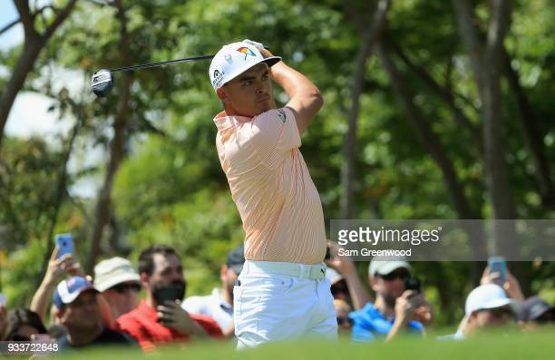 Rickie Fowler plays his shot from the third tee during the final round at the Arnold Palmer Invitational Presented By MasterCard at Bay Hill Club and...