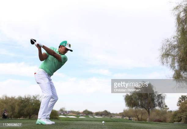 Rickie Fowler plays his shot from the third tee during the first round of the Waste Management Phoenix Open at TPC Scottsdale on January 31, 2019 in...