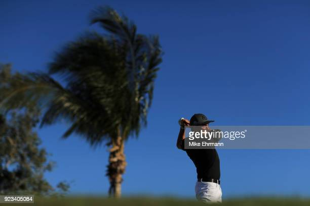 Rickie Fowler plays his tee shot on the 13th hole during the second round of the Honda Classic at PGA National Resort and Spa on February 23 2018 in...