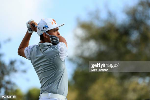 Rickie Fowler plays his tee shot the 11th hole during the first round of the Honda Classic at PGA National Resort and Spa on February 22 2018 in Palm...