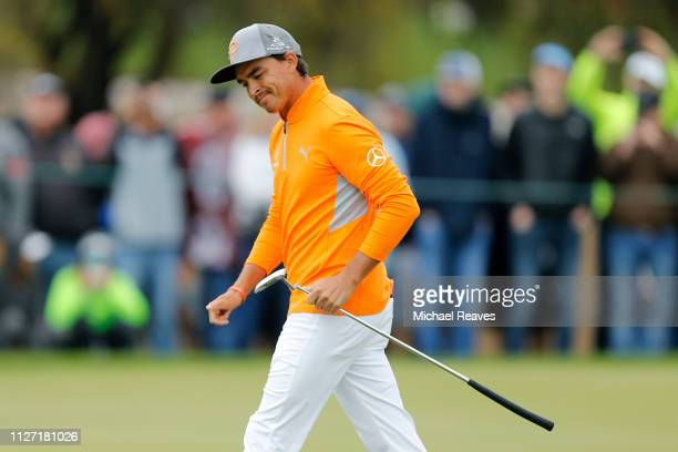 Rickie Fowler reacts on the seventh green during the final round of the Waste Management Phoenix Open at TPC Scottsdale on February 03 2019 in...