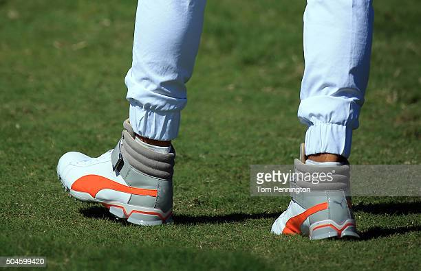 Rickie Fowler shoe detail during the final round of the Hyundai Tournament of Champions at the Plantation Course at Kapalua Golf Club on January 10...