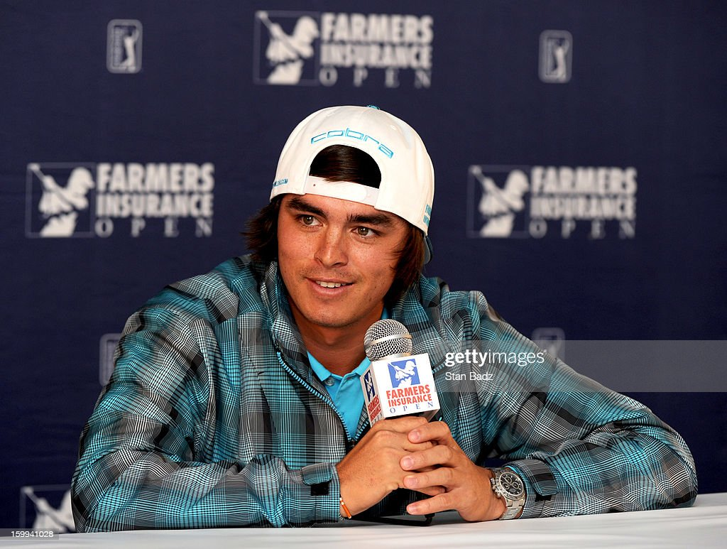 Rickie Fowler speaks to the media following his Pro-Am round for the Farmers Insurance Open at Torrey Pines Golf Course on January 23, 2013 in La Jolla, California.