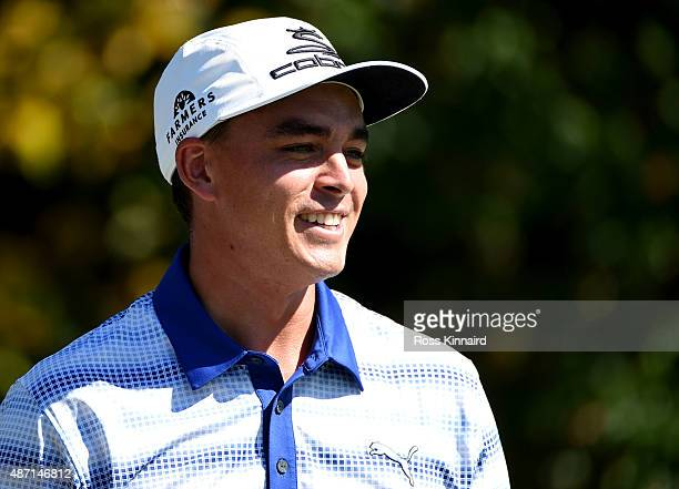 Rickie Fowler stands on the tee box of the fourth hole during round three of the Deutsche Bank Championship at TPC Boston on September 6, 2015 in...